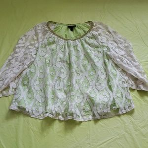 LANE BRYANT creme lace overlay green blouse 18/20